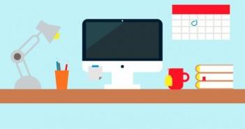 Ilustrasi Komputer, File, Monitor, Buku, Meja Kerja