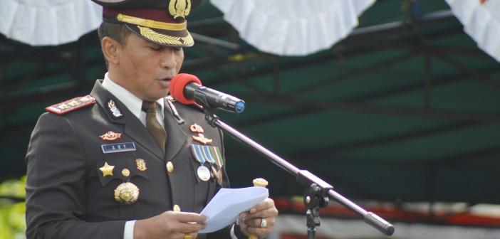 SAMBUTAN KAPOLRES PUNCAK JAYA DALAM UPACARA PERINGATAN HUT BHAYANGKARA KE - 73
