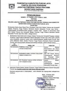 Hasil 3 Besar JPTP Sekda Kabupaten Puncak Jaya